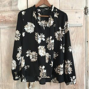 Lucky Brand Floral Boho Peasant Blouse S